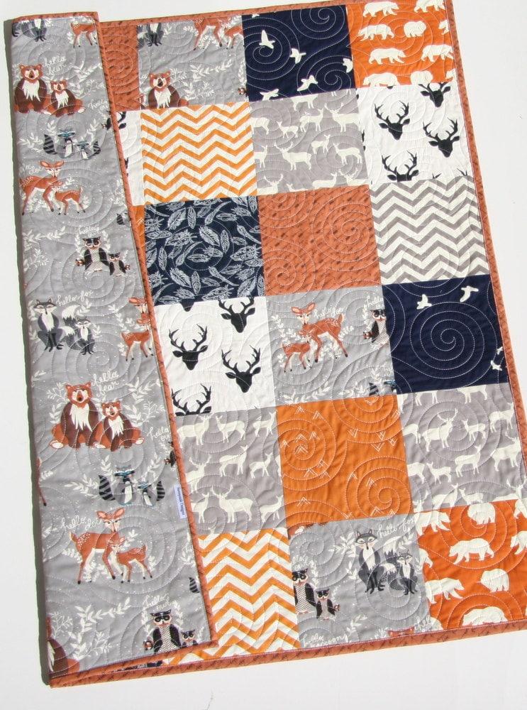 Baby Quilt Boy Orange Navy Blue Gray Elk Deer Woodlands