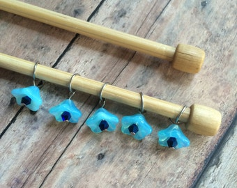 Bluebell Floral Stitch Markers - Set of 5