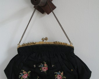 1930's French Tambour Purse, floral embroidery