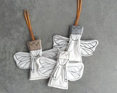 Holiday ornaments. Set of 3 christmas angels - fabric Tree Decoration ,dwarf with dragonfly wings in beige grey ivory with gold dots crowns