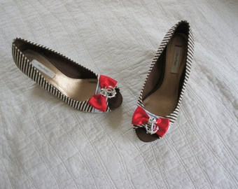 Olivia Paige -  Sale Pin Up Sailor  Anchor shoes Rockabilly Bows  size  7 1/2