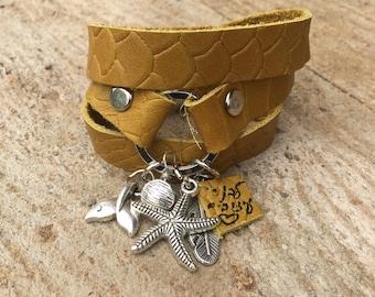 Mustard leather bracelet, silver charm bracelet, wrapped leather bracelet, nautical leathet bracelet with silver pendants, Charm bracelet