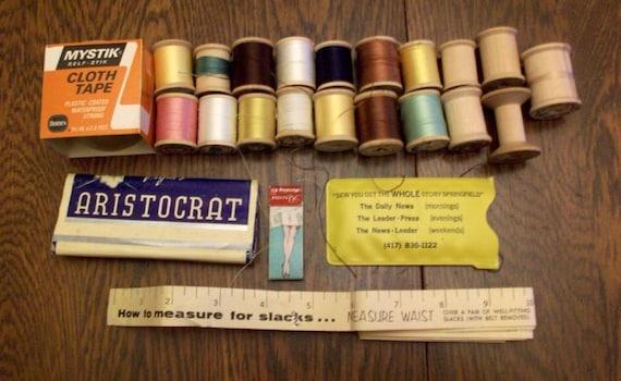 vintage lot sewing supplies wood spools cloth tape pins measuring tape repair kit advertising. Black Bedroom Furniture Sets. Home Design Ideas