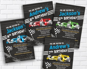 Race Car Birthday Invitation for any age 1st 2nd 3rd 4th 5th 6 7 8 kids birthday invitation Vintage Retro Rustic - card 268