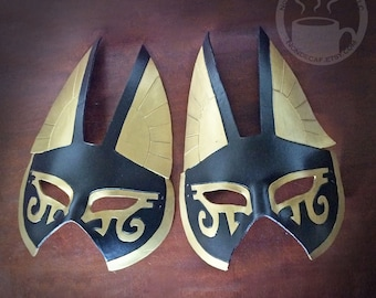 Large Egyptian Anubis Half Mask in Gold and Black -  Handmade  Warrior Costume Fantasy Renaissance Festival Masquerade