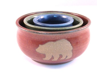 Nesting Stack Bowl Set - Papa, Mama and Baby Bear Silhouette - Rust Red, Bright Green and Blue - Handmade Pottery