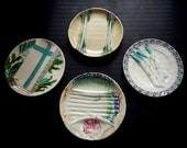 A Curated Collection 4 French Antique Asparagus and Artichoke Plates in Majolica 1900s