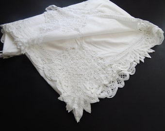 SALE French Wedding Tablecloth Vintage Handmade Lace Hand Embroidered / Wedding and Baptism