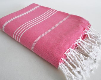 SALE 50 OFF/ Classic Blanket / Pink / Beach blanket, Picnic blanket, Sofa throw, Tablecloth, Bedcover