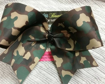 Big CAMO 3in Cheer Bow, Camo Cheer bow, Camouflage bow, Camo Cheer Bow, Camo bow, Camo, Team Bow, Camouflage, Hunting bow