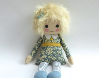 cloth doll in blue flowery dress, blonde rag doll, lybo doll, room decor handmade doll