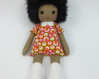 rag doll in orange and red dress, black doll, african american doll, cloth doll, keepsake doll, collectors doll