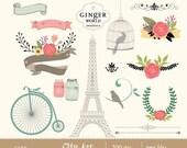 SALE romantic and vintage graphics clip art, flower, paris chic, bicycle, bird cage, eiffel tower