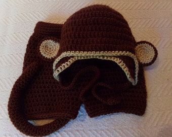Baby Monkey Hat and tail Curious George costume for newborn to 12 months infant, toddler, Halloween