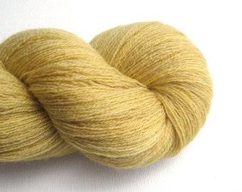Lace Weight Merino Wool Recycled Yarn, Flax Yellow