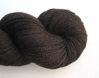 Fingering Wool Silk Blend Recycled Yarn, Walnut Brown, Lot 151015