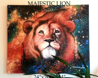 """COLORFUL LION PAINTING Large Acrylic on Stretched Canvas 24""""X20""""X3/4"""" Abstract Fine Art Contemporary Space Majestic Realistic Detailed"""