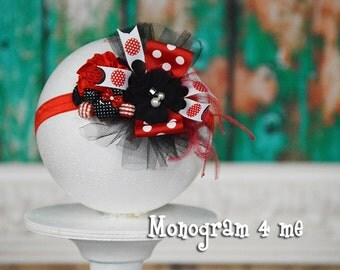 Red Minnie Mouse Birthday Headband - Hair Bow - Minnie Mouse Birthday - Red and Black - Disney - Photo prop