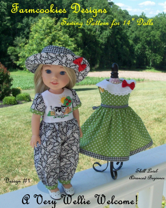 "WELLIE WISHER® PRINTED Sewing Pattern: A Very Wellie Welcome! / Sewing Pattern for 14"" American Girl  Wellie Wishers®"