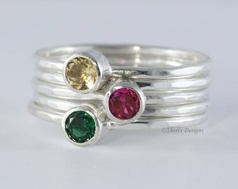 3 Gemstone Stacking Skinny Rings with 4mm Gemstones, Family Rings, Mother's Rings,  2 plain or twisted skinny rings, Ruby, Topaz Custom made