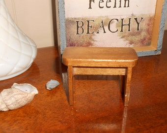 Vintage Dollhouse Wood Piano Bench - End Table