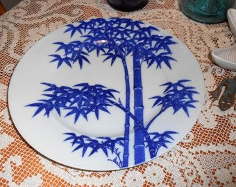 Vintage blue and white Bamboo Plate Made in Japan