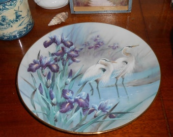 Beautiful Purple Iris, Birds Wall Collector Plate Decor - 1992 The Herons by Lena Liu - On Wings of Snow Plate No. 139 2A
