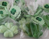 10 Shamrock Soap Favors:  Save the Date, Wedding Favors, Baby Shower, Saint Patricks Day, Four Leaf Clover, Bridal Shower, Fighting Irish