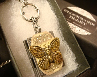 Victorian Style Butterfly with Watch Face Book  Locket Necklace in Antique Silver (2200)