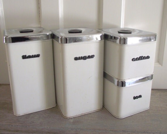 White and chrome metal canister set queen line a r lite for Kitchen set q line