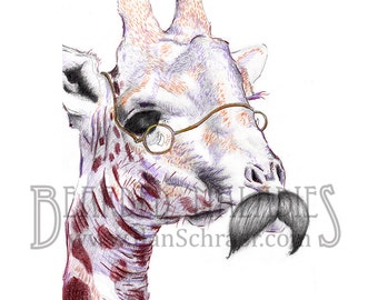 "Mustachioed Giraffe Portrait, 8""x10"" Print"