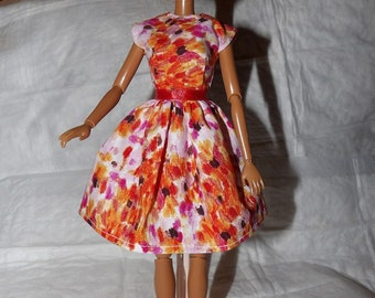 Colorful splattter print dress for Fashion Dolls - ed876