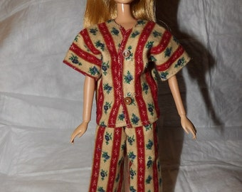 Tan & red striped Flannel pajamas for Fashion Dolls - ed882