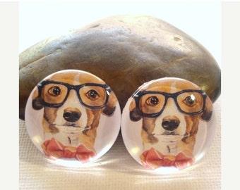 SALE 20% Off - 4pcs 25mm Dog Handmade Glass Photo Cabochons PC248-25