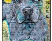 Pop Art Blue Pitbull Leash Hook 6x8 Pet Leash Hook Dog Leash Collar Hook Pet Home Decor