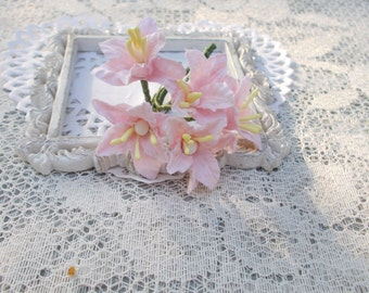 """NEW """"MINI"""" Shabby Chic Lily Flowers for Scrapbooking, Card Making, Altered Art, Tags, Mixed Media, Wedding, Light Pink"""