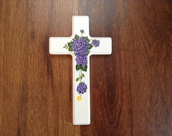 Purple Hydrangeas Wood Cross - Communion - Religious - Crucifix - Hand painted OOAK - Baptism - personalize