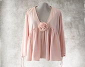 Peach pink pastel blouse/Removable clip rose/long sleeve shirt/Ruffle cascade top/Deep v neck