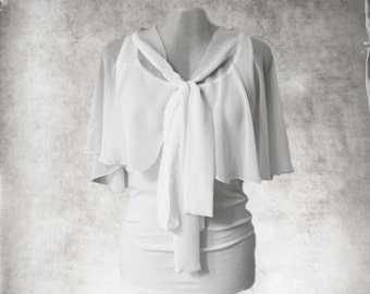 White tank and cape/sleeveless blouse/Scoop neck shirt/poncho set top