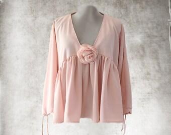 Peach pink pastel blouse/Removable clip rose/long sleeve shirt/Ruffle cascade top/Deep v neck