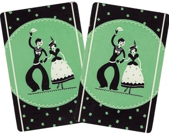 SHORE LEAVE Mint Green (2) Vintage Single Swap Playing Cards Paper Ephemera Scrapbook