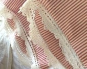 red ticking and lace pillowcases