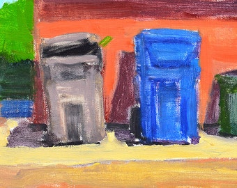 Trash Cans in the Alley- North Park San Diego Painting