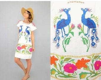 SUMMER SALE 70's Cross Stitch PEACOCK Tunic Dress