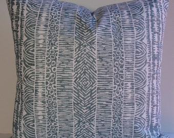 Bohemian Stripe teal blue decorative pillow cover, Global lines designer pillow cover, Robert Allen Home slub fabric, modern tribal inspired