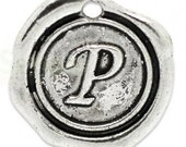 """Add On Initial """"P"""" Charm, personalized letter charm, monogram, Personalized Keychain, Personalized Necklace, antiqued silver plated charm"""