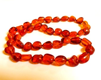 """Baltic Amber Jewelry Cognac Necklace Natural Beads 18.1"""" 16 gram"""