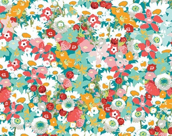 Red Pink Green Small Floral Cotton Fabric Lavish Flowered Medley by Art Gallery, 1 yard