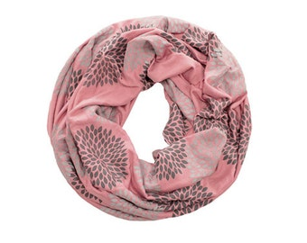 INFINITY SCARF - Screen Printed - Gray Double Flowers on Rouge
