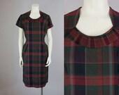 """50s Vintage Plaid Cotton Midi Dress. Deadstock (L; 32"""" Waist)"""